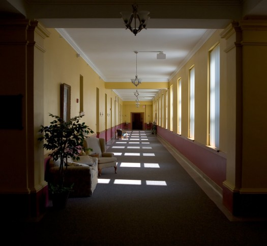 Empty Church Hallway