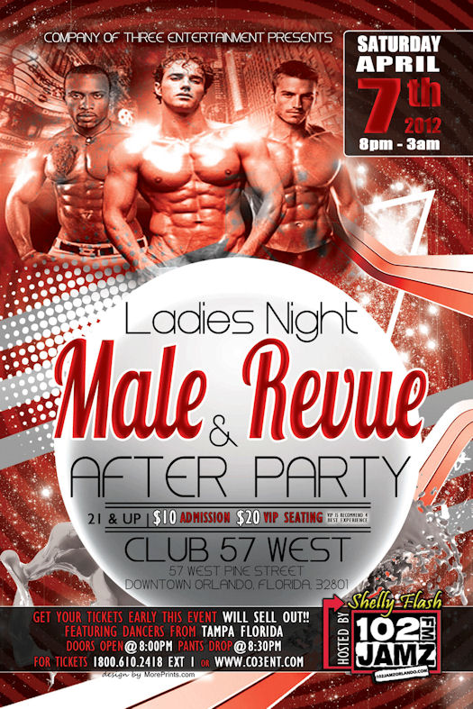 LanceScurv Hosts Internet Livestream Of CO3 Entertainment's Live Male Revue On April 7th at Club 57 In Orlando!