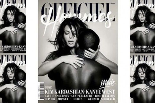 Kim Kardashian and Kanye West pose on the front cover of L'Officiel Magazine