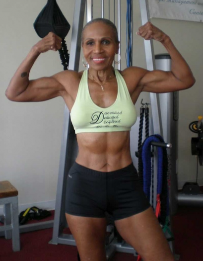 Ernestine Shepherd Double Biceps Shot