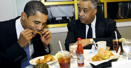 Barack Obama Al Sharpton Eating
