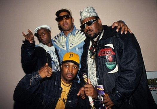 Grandmaster Flash, DJ Kool Herc, Afrika Bambaataa and Chuck D attend Columbia University's Rap Summit (1993)
