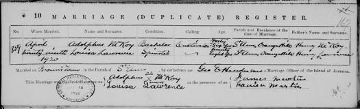 Adolphus McKoy Marriage Record