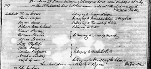 William Skirving Baptismal Document