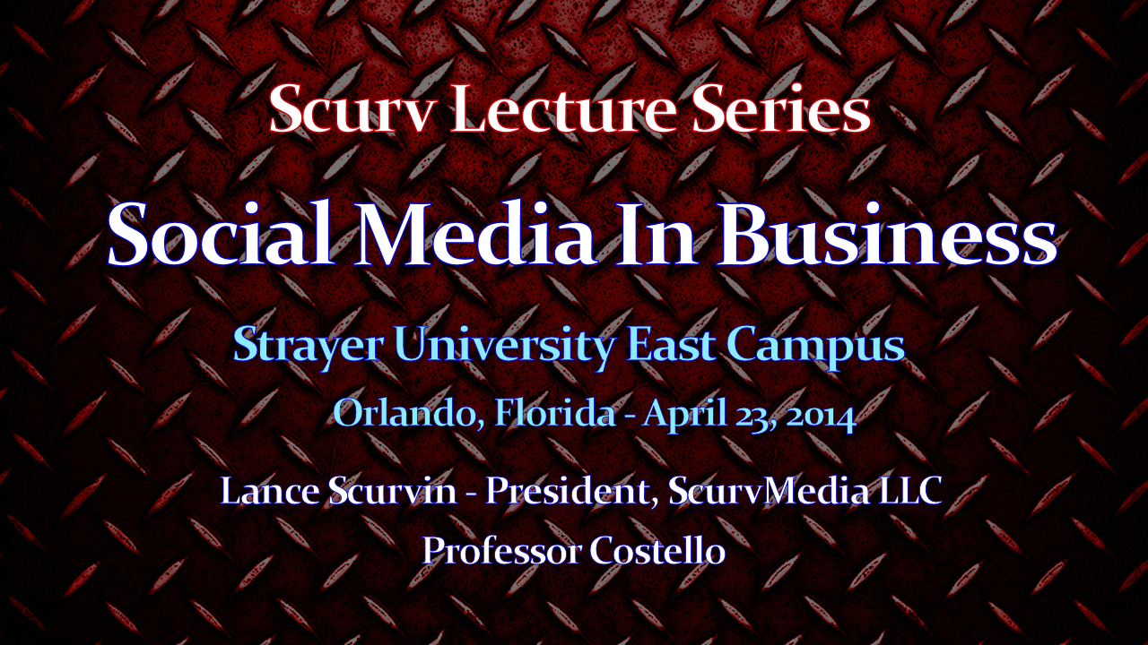 Approach To Social Media In Business (Part 1) - The LanceScurv Lecture Series