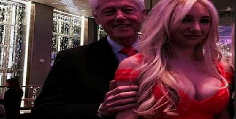 Bill Clinton Holding Blonde Woman With Exposed Breasts
